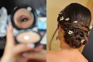 maquillage et coiffure de la mariee