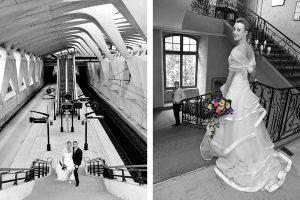 photo mariage en noir et blanc bouquet en couleur