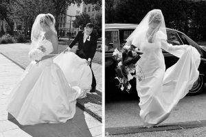 mariee sur parvis eglise photo noir et blanc